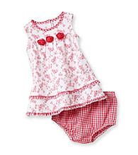 Little Me® Baby Girls' White/Pink Rosette Dress Set