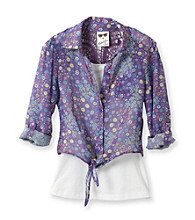 Belle du Jour Girls' 7-16 Purple 2-pc. Floral Print Tie Front Top