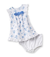 Little Me® Baby Girls' White/Blue Rose Dress Set