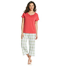 Intimate Essentials® Knit Capri Set - Red Multi Plaid