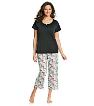 Intimate Essentials® Knit Capri Set - Black Multi Floral