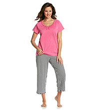 Intimate Essentials® Knit Capri Set - Pink Black/White Stripe