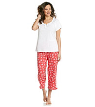 Intimate Essentials® Knit Capri Set - White Red Cherries
