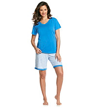 Intimate Essentials® Knit Bermuda Set - Blue Ditsy