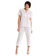 Miss Elaine® Seersucker Pajama Set - Pink Stripe