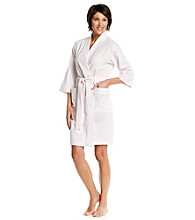 Miss Elaine® Seersucker Short Wrap Robe - Pink Stripe