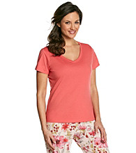 Jockey® Knit V-Neck Top - Tangerine
