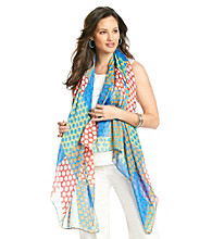 Basha Colorful Dots and Rectangle Print Neckwrap - Blue