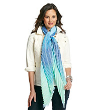 Collection 18 Blue Pleated Stripe Ombre Wrap