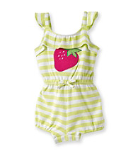 Cuddle Bear® Baby Girls' Lime/White Striped Knit Ruffle Front Romper