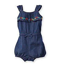 Cuddle Bear® Baby Girls' Chambray Woven Ruffle Front Romper