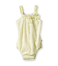 Cuddle Bear® Baby Girls' Yellow Woven Burnout Bodysuit Romper
