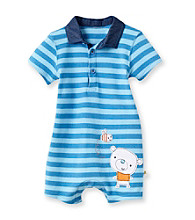Cuddle Bear® Baby Boys' Blue Striped Knit Romper with Chambray Collar