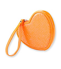 Miss Attitude Orange Sequin Heart Wristlet