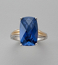 Created Blue Sapphire Ring in Sterling Silver and 14K Gold