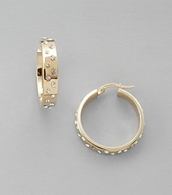 Scattered Crystal Hoop Earrings in Sterling Silver and 14K Gold