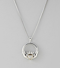 .05 ct. t.w. Diamond Claddagh Pendant in Sterling Silver and 14K Gold
