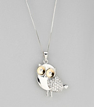 Crystal Owl Pendant in Sterling Silver and 14K Gold