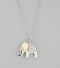 Crystal Elephant Pendant in Sterling Silver and 14K Gold