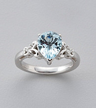 Aquamarine & .03 ct. t.w. Diamond Ring in Sterling Silver and 14K Gold