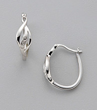 Diamond Accent Oval Hoop Earrings in Sterling Silver