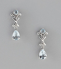 Aquamarine & .01 ct. t.w. Diamond Earrings in Sterling Silver and 14K Gold