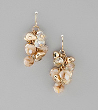 Laura Ashley® Goldtone Beaded Cluster Fish Hook Earrings