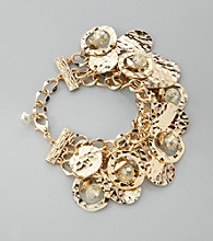 Laura Ashley® Goldtone Three Row Chain Shaky Bracelet