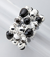 Studio Works® Black/White/Silvertone Three Row Stretch Bracelet