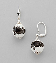 Studio Works® Black/White/Silvertone Euro Wire Drop Earrings