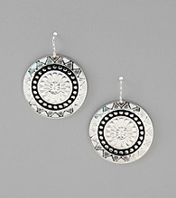 Studio Works® Black/White/Silvertone Disc Drop Earrings