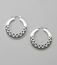 Studio Works® Black/White/Silvertone Click-It Hoop Earrings