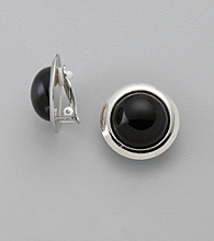Studio Works® Clip Black/White/Silvertone Button Earrings