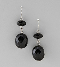 Studio Works® Black/White/Silvertone Two Bead Drop Earrings