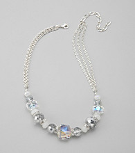 BT-Jeweled Grey Faceted Bead Necklace