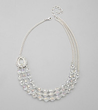 BT- Jeweled Grey Three Row Beaded Necklace