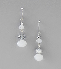 BT-Jeweled Grey Drop Frost and Mirror Beaded Earrings