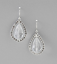 BT-Jeweled Faceted Clear Crystal Teardrop Earrings