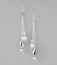 BT-Jeweled Grey Linear Drop Two Wire Bead Earrings