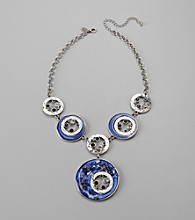 Laura Ashley® Blue and Grey Hammered Metal Necklace