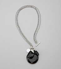 Laura Ashley® Silvertone Double Chained Toggle Pendant