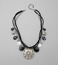 Laura Ashley® Silvertone and Black Bead Layered Chain Necklace