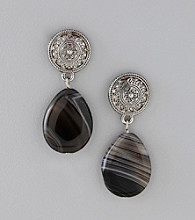 Laura Ashley® Black Onyx Silvertone Drop Earrings