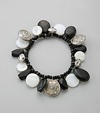 Laura Ashley® Black Onyx Shaky Beaded Stretch Bracelet