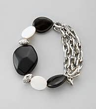 Laura Ashley® Black Onyx Silvertone Multi Strand Bracelet