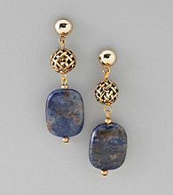 Laura Ashley® Goldtone with Blue Stone Drop Earrings