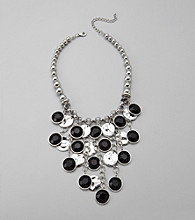 Relativity® Silvertone and Black Beaded Necklace with Hammered Metal