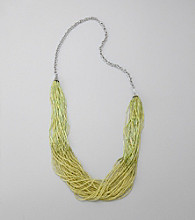 Relativity® Silvertone Chain Necklace with Lime Green Accents