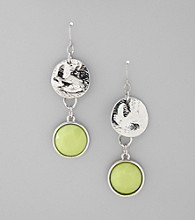 Relativity® Silvertone Hammered Metal Drop Earrings with Lime Green Accents