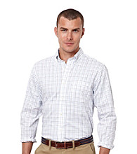 Nautica® Men's Bright White Long Sleeve Windowpane Woven